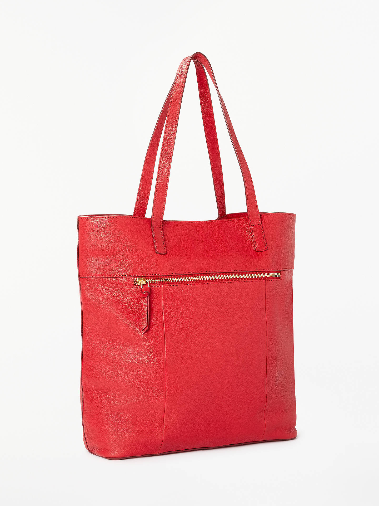 Buy John Lewis & Partners Cecilia Leather North/South Tote Bag, Red Online at johnlewis.com