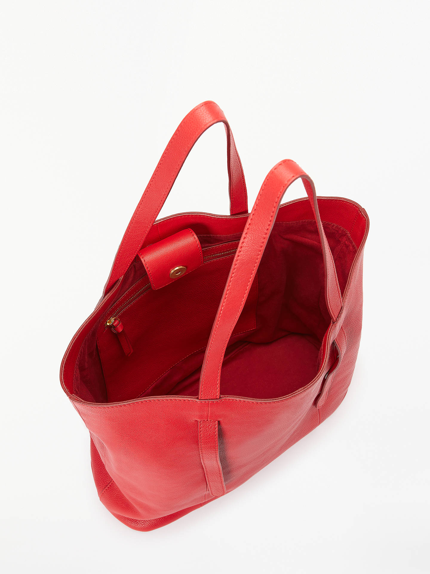 BuyJohn Lewis & Partners Cecilia Leather North/South Tote Bag, Red Online at johnlewis.com