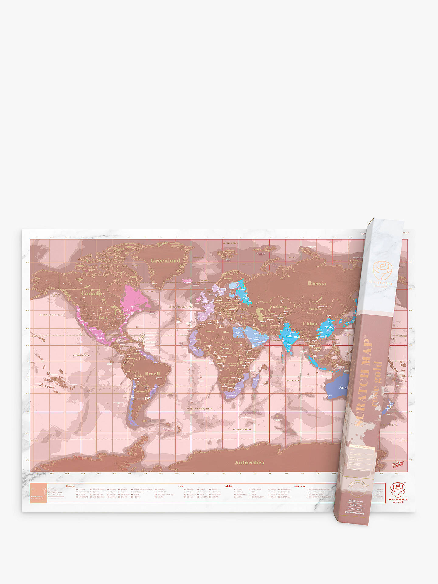 Luckies World Scratch Map Rose Gold At John Lewis Partners