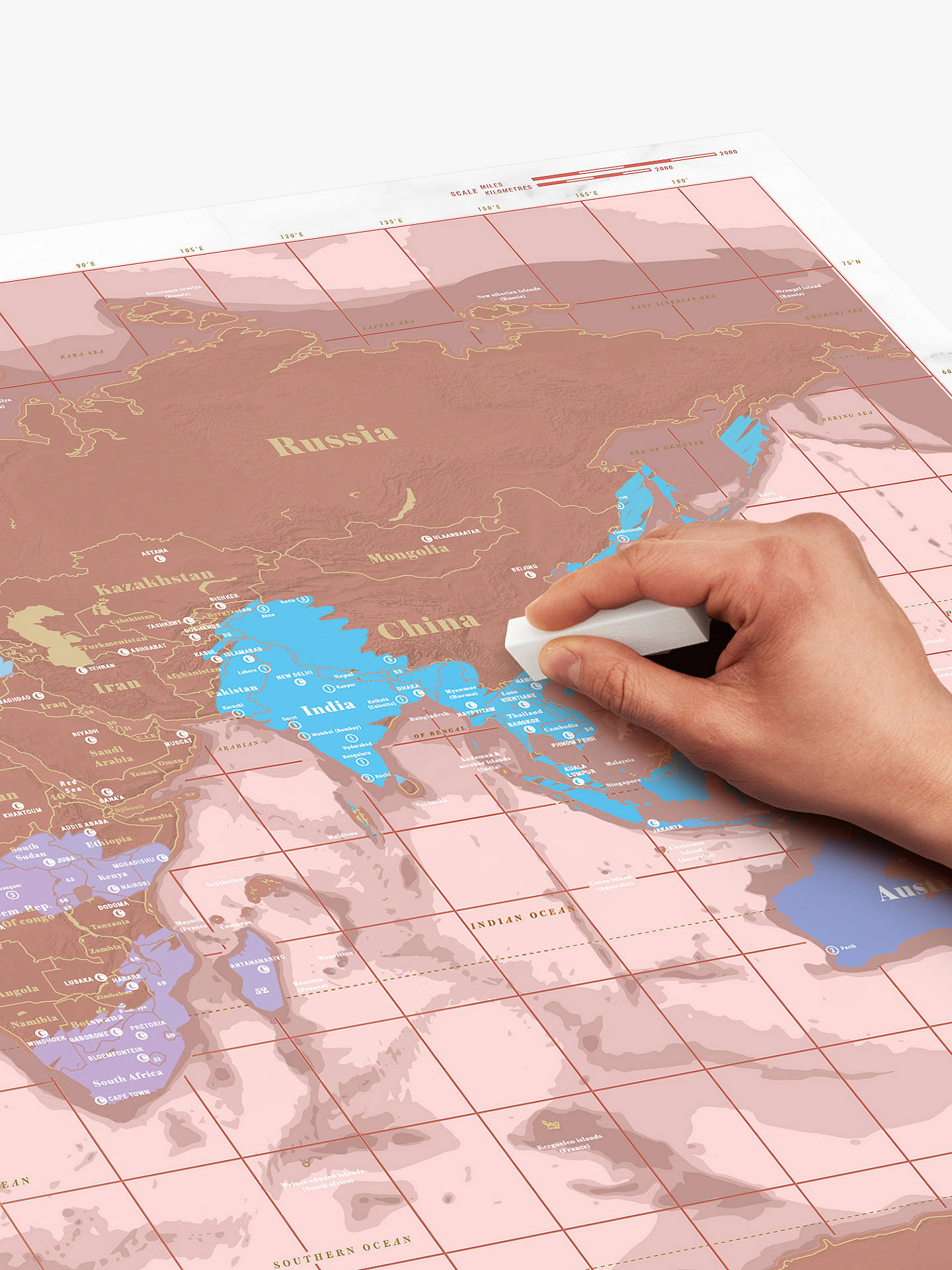 BuyLuckies World Scratch Map, Rose Gold Online at johnlewis.com