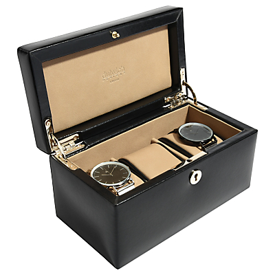 Dulwich Designs Windsor Leather 3 Piece Watch Box, Black
