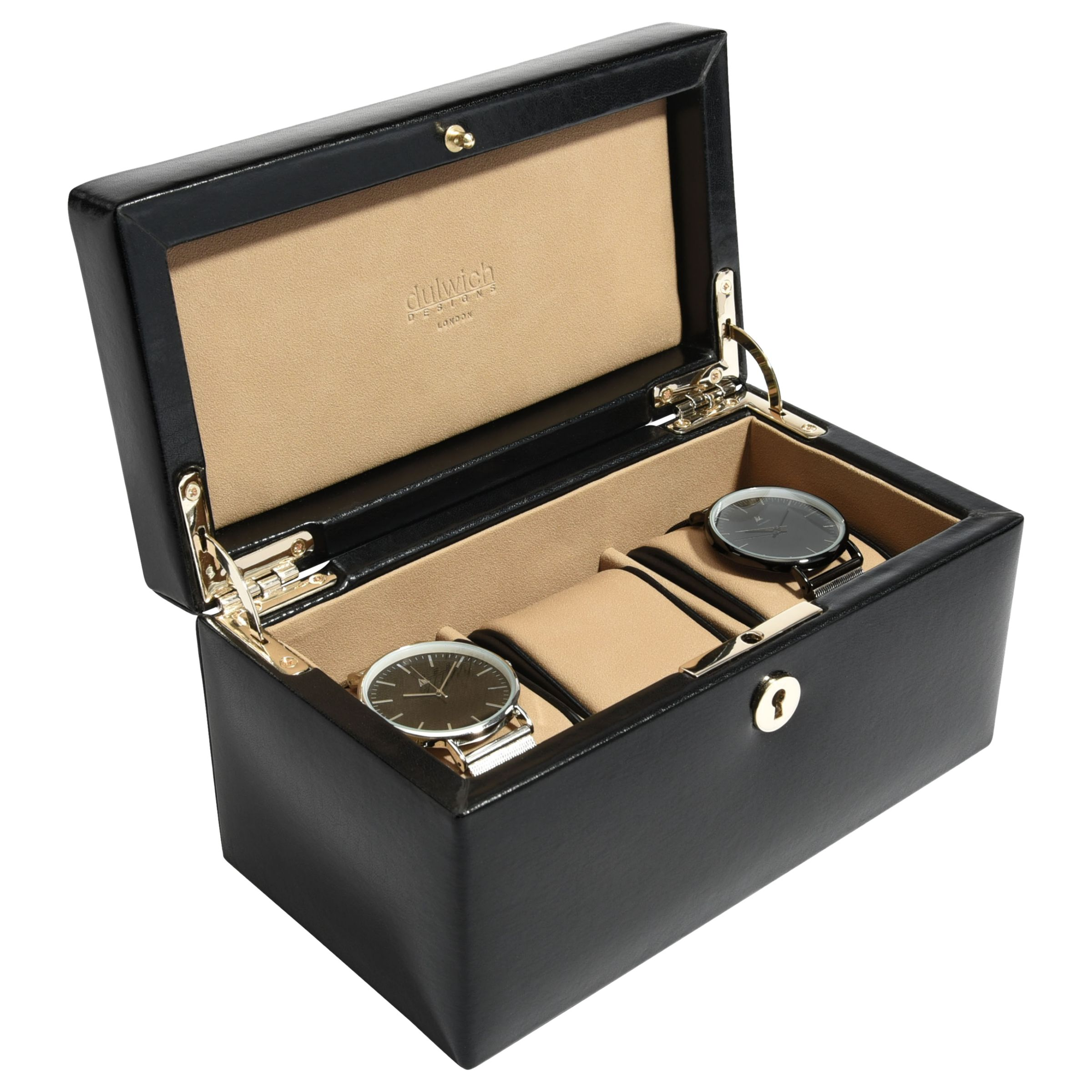 Dulwich Designs Dulwich Designs Windsor Leather 3 Piece Watch Box, Black