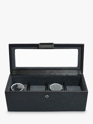 Buy Stackers 4 Glass Watch Box, Black Online at johnlewis.com