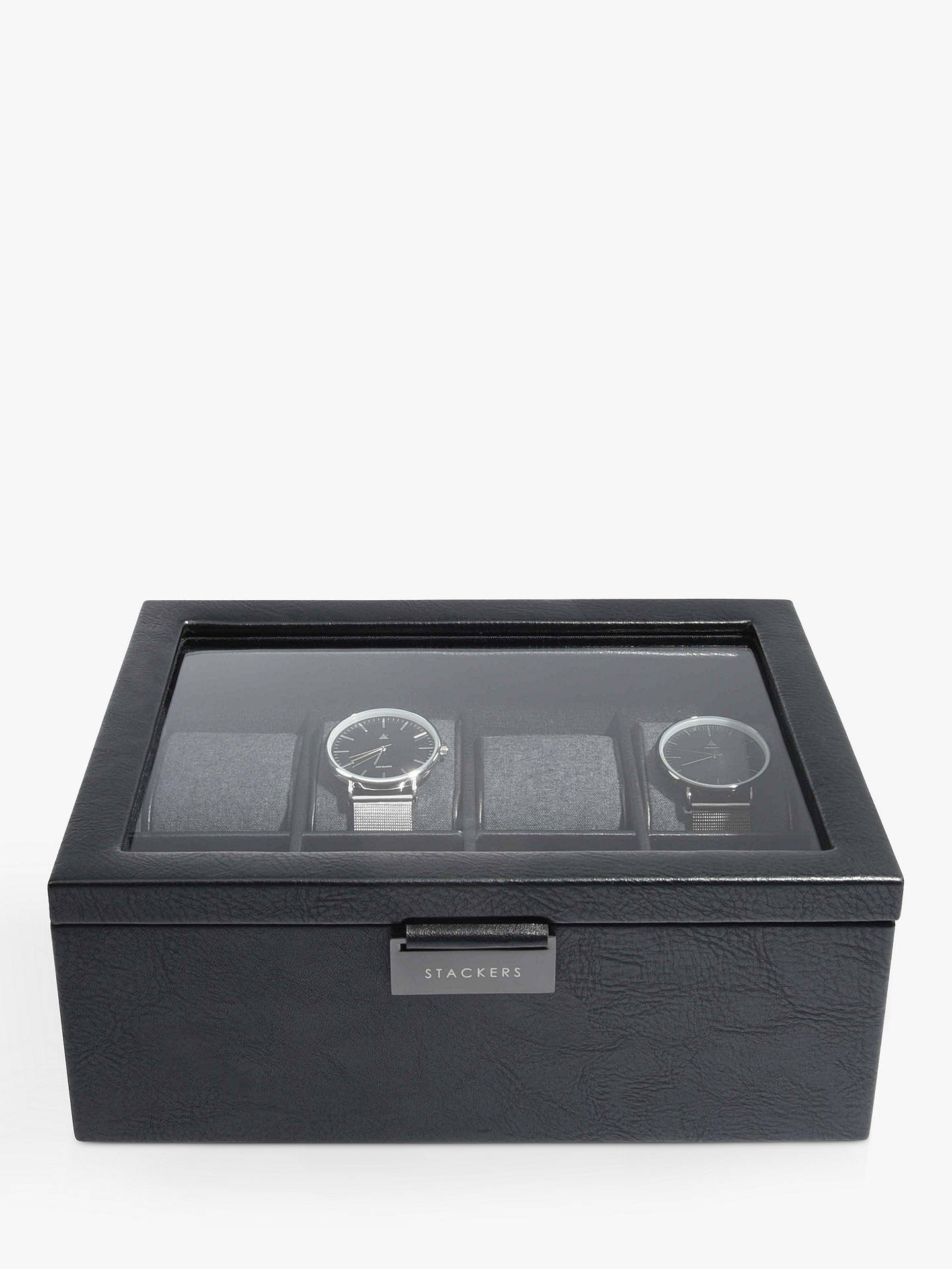 BuyStackers 8 Piece Glass Watch Box, Black Online at johnlewis.com