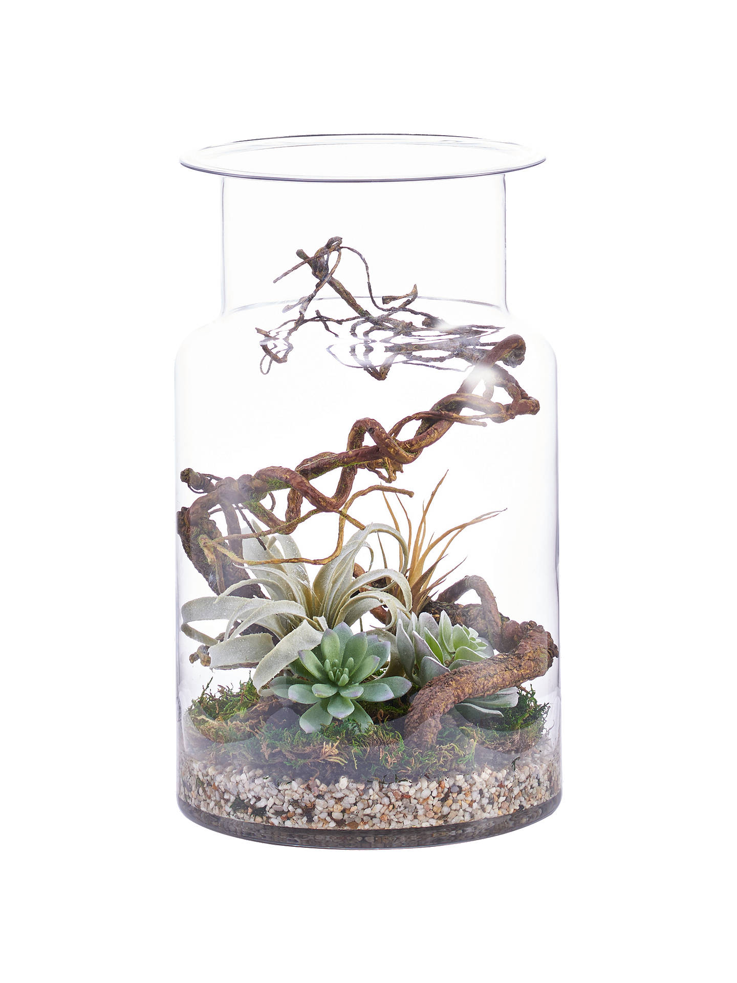 BuyPeony Artificial Twig & Suculents in Cylinder Vase Online at johnlewis.com