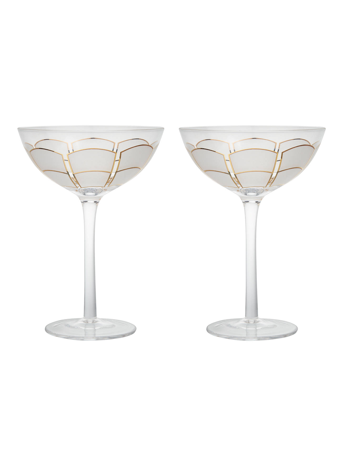 Buy John Lewis & Partners Deco Coupe Glasses, Set of 2, White/Gold, 220ml Online at johnlewis.com