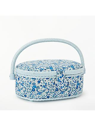 Liberty Floral Print Small Oval Sewing Box, Blue