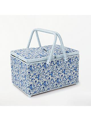 Liberty Floral Print Twin Lid Sewing Basket, Blue