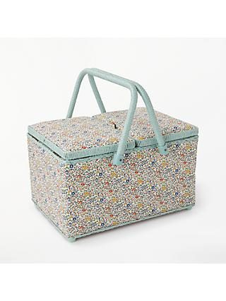 Liberty Floral Print Twin Lid Sewing Basket, Mint