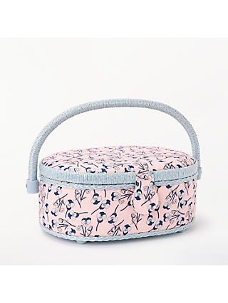 Liberty Floral Print Small Oval Sewing Box, Pink