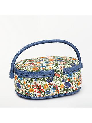 Liberty Rachel Print Oval Sewing Box, Blue