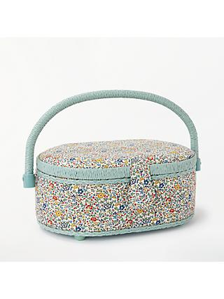 Liberty Floral Print Small Oval Sewing Box, Mint