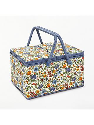 Liberty Rachel Floral Print Twin Lid Sewing Basket, Blue
