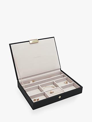 Stackers Classic Lidded Jewellery Box, Black