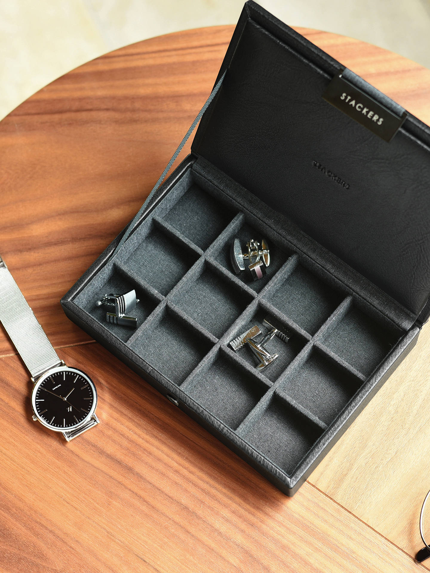 Buy Stackers Lidded Cufflink Box, Black Online at johnlewis.com