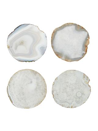 John Lewis & Partners Agate Coasters, Natural/Gold, Set of 4