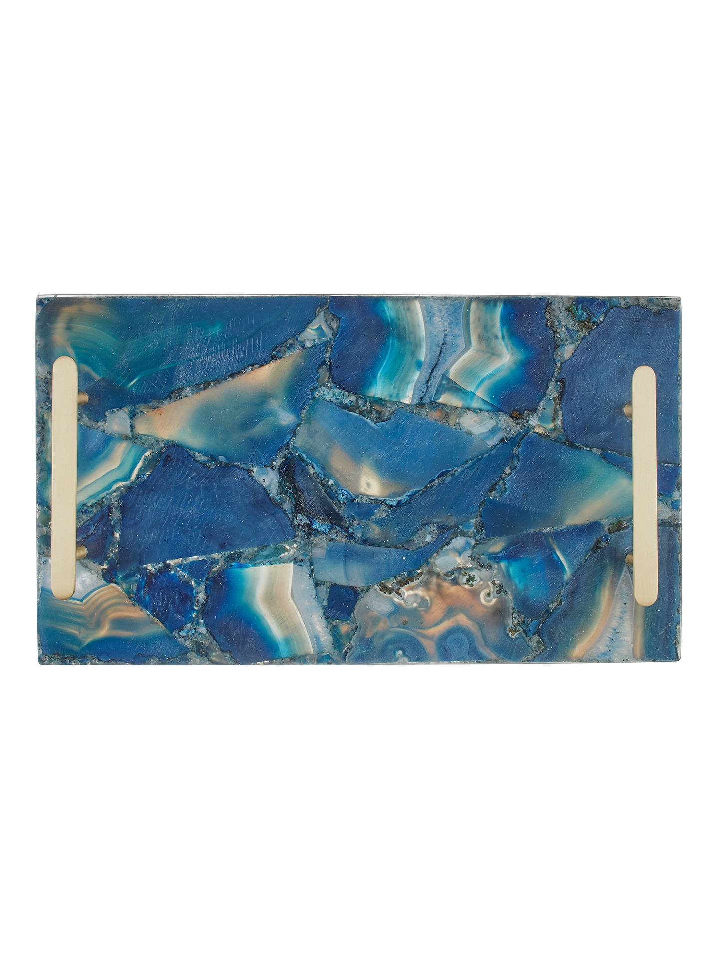 John Lewis Partners Agate Tray Blue Brass At The Wet Brush Gemstone Teal Buyjohn Online