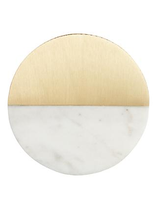 John Lewis & Partners Marble Coasters, White/Brass, Set of 4