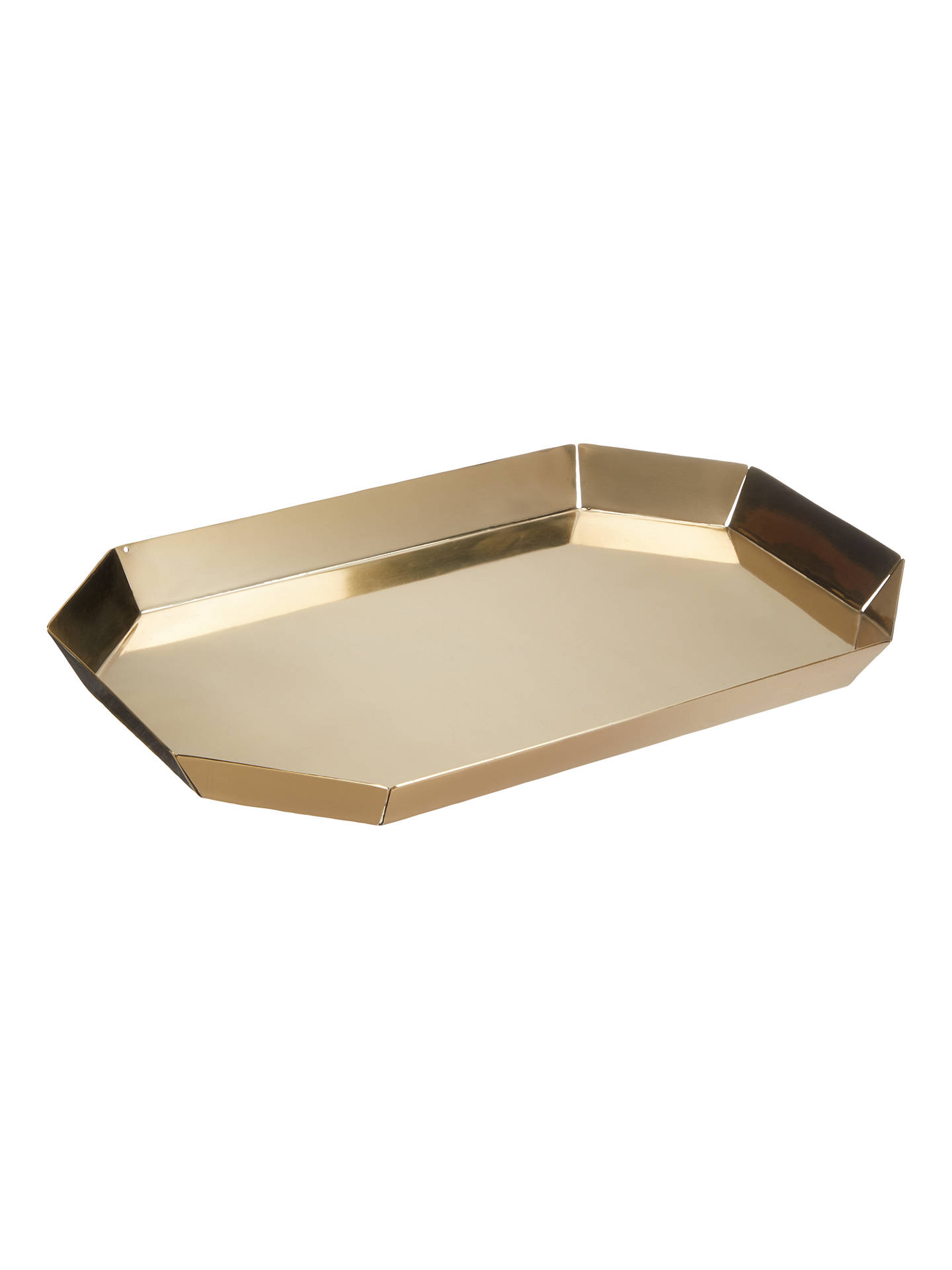 Buy John Lewis & Partners Faceted Drinks Tray, Brass Online at johnlewis.com