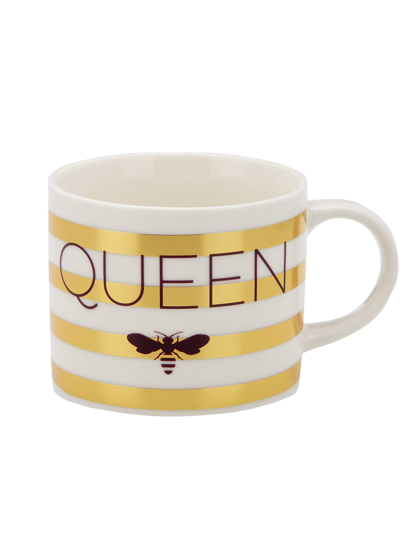BuyJohn Lewis & Partners Queen Bee Striped Mug, Gold, 350ml Online at johnlewis.com