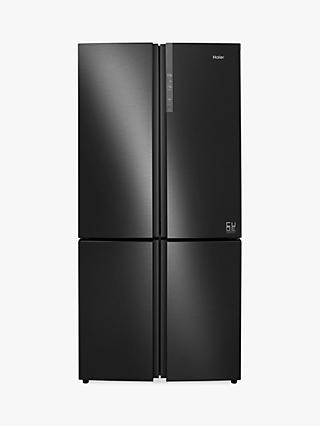 Haier Cube Series HTF-610DSN7 American-Style Freestanding Fridge Freezer, 91cm Wide, A++ Energy Rating, Black Stainless Steel