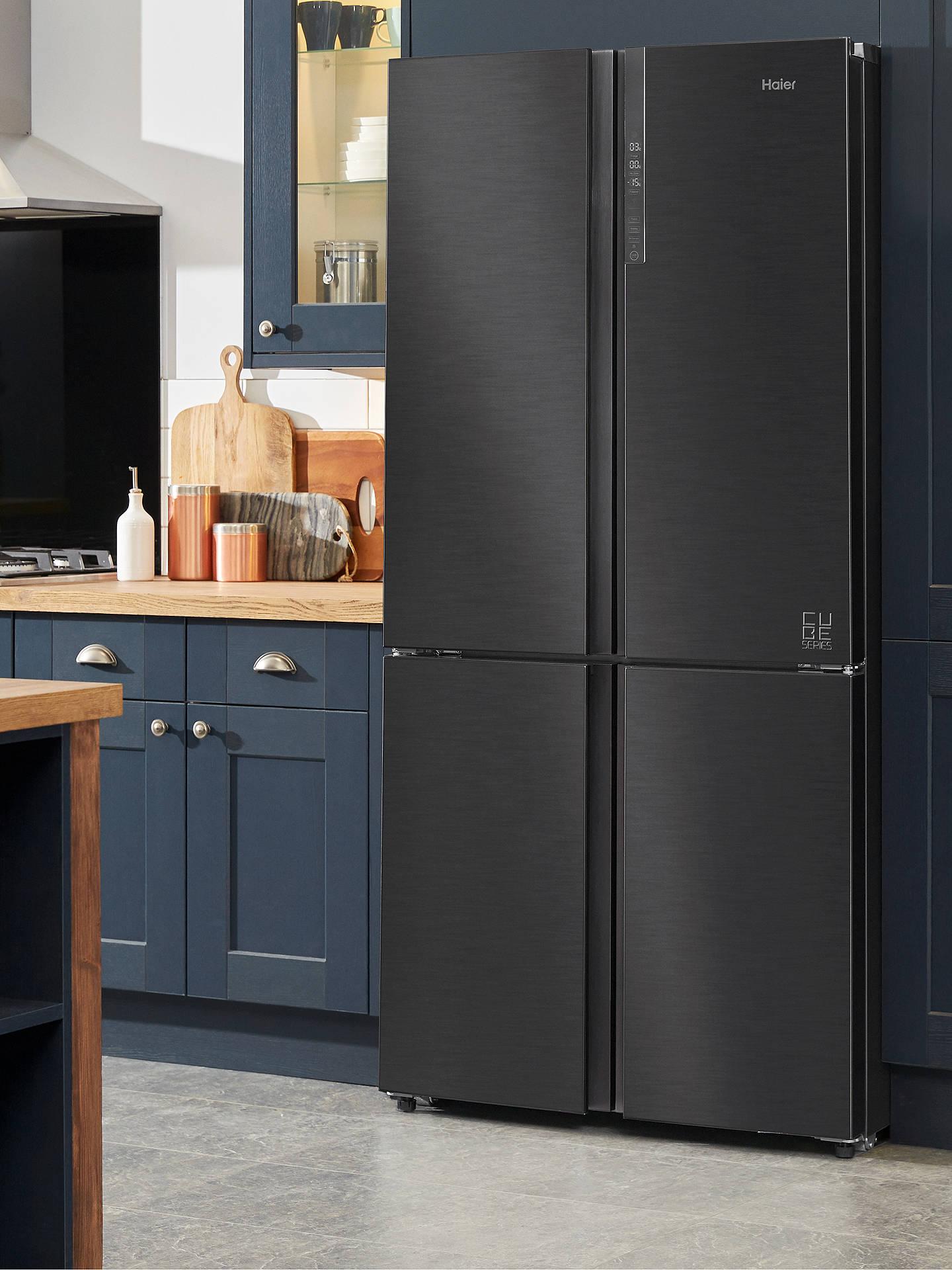Haier Cube Series HTF-610DSN7 American-Style Freestanding Fridge Freezer,  91cm Wide, A++ Energy Rating, Black Stainless Steel