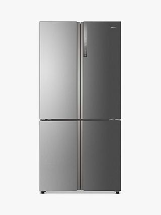 Haier Cube Series HTF-610DM7 Freestanding 70/30 American Fridge Freezer, Stainless Steel