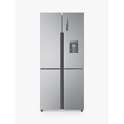 Haier Cube Series HTF-452WM7 Slim American-Style Freestanding Fridge Freezer with Water Dispenser, A++ Energy Rating, 83cm Wide, Stainless Steel Effect