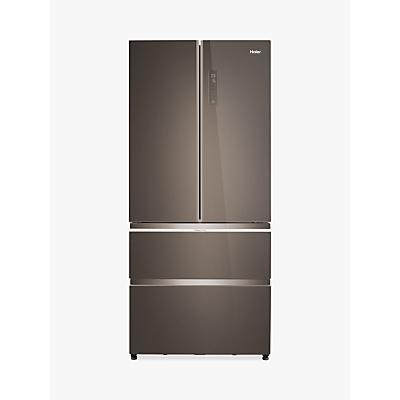 Haier HB18FGSAAA Slim American-Style Freestanding Fridge Freezer, A++ Energy Rating, 83cm Wide, Glass Finish Stainless Steel