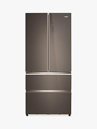 Haier HB18FGSAAA Slim American-Style Freestanding 70/30 Fridge Freezer, A++ Energy Rating, 83cm Wide, Glass Finish Stainless Steel