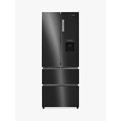 Haier HB16WSNAA Slim American-Style Freestanding Fridge Freezer with Water Dispenser, A+ Energy Rating, 70cm Wide, Black Stainless Steel