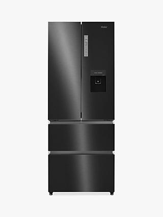 Haier HB16WSNAA Slim American-Style Freestanding 70/30 Fridge Freezer with Water Dispenser, A+ Energy Rating, 70cm Wide, Black Stainless Steel