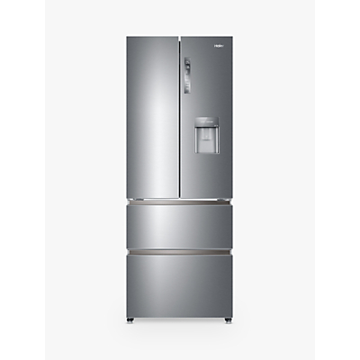 Haier HB16WMAA American-Style Freestanding Fridge Freezer, A+ Energy Rating, 70cm Wide, Silver