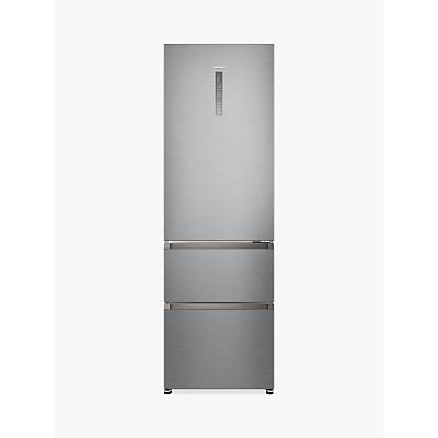 Haier A3FE635CGJE Freestanding 3-Door Fridge Freezer, A+ Energy Rating, 60cm Wide, Silver