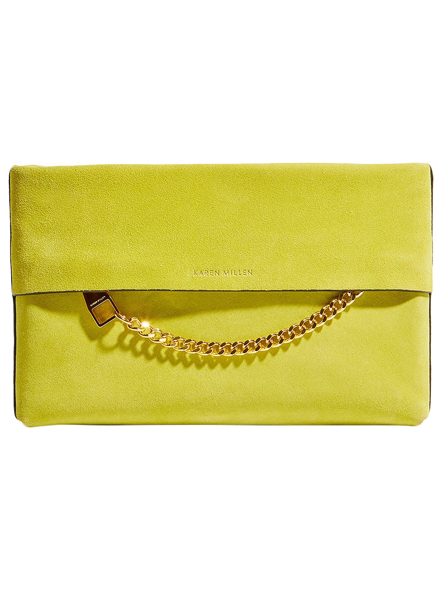 984e963c237d Buy Karen Millen Leather Chain Zip Clutch Bag, Lime Leather Online at  johnlewis.com ...