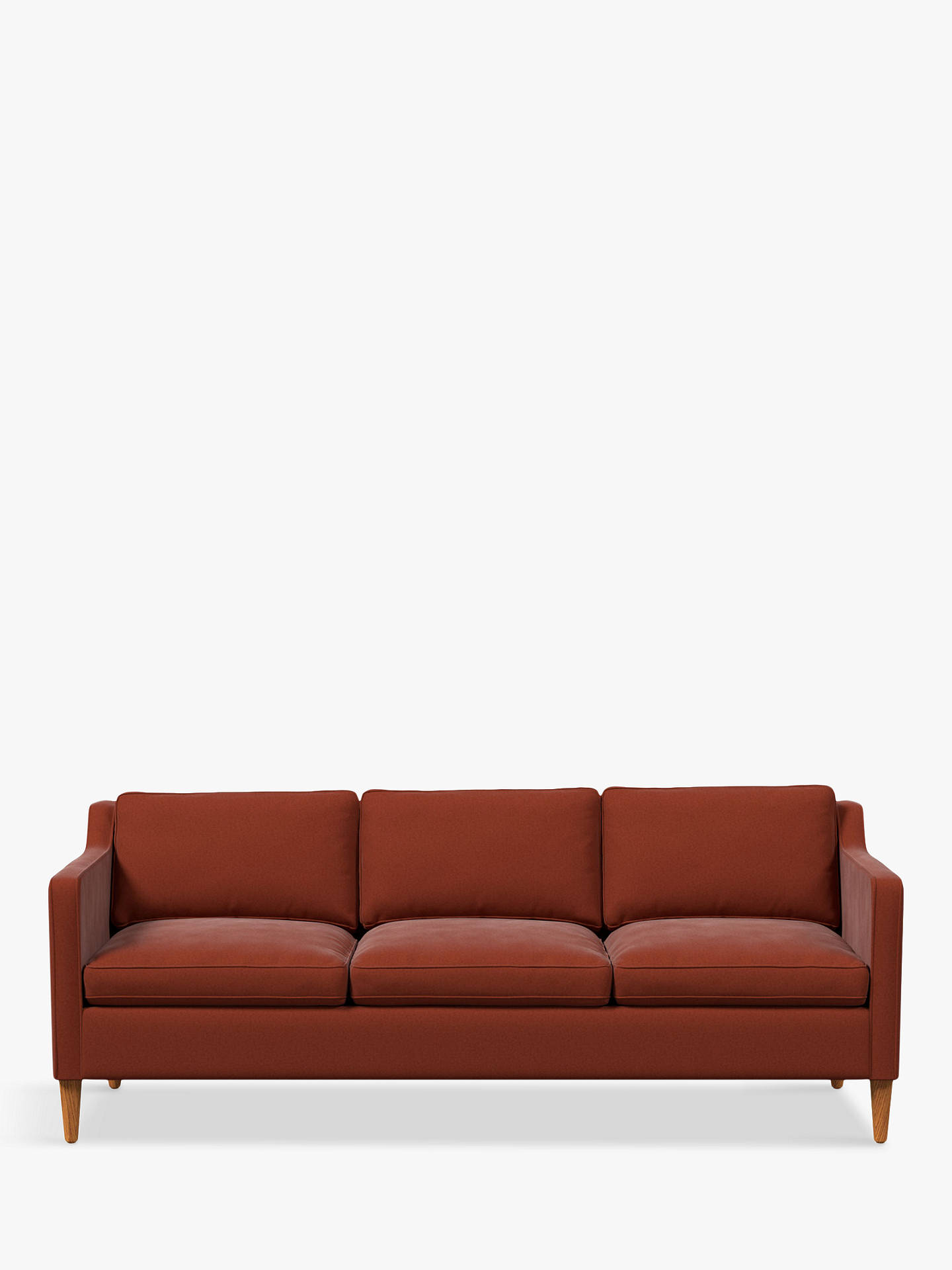 Buy west elm Hamilton Large 3 Seater Sofa, Velvet Rust Online at johnlewis.com