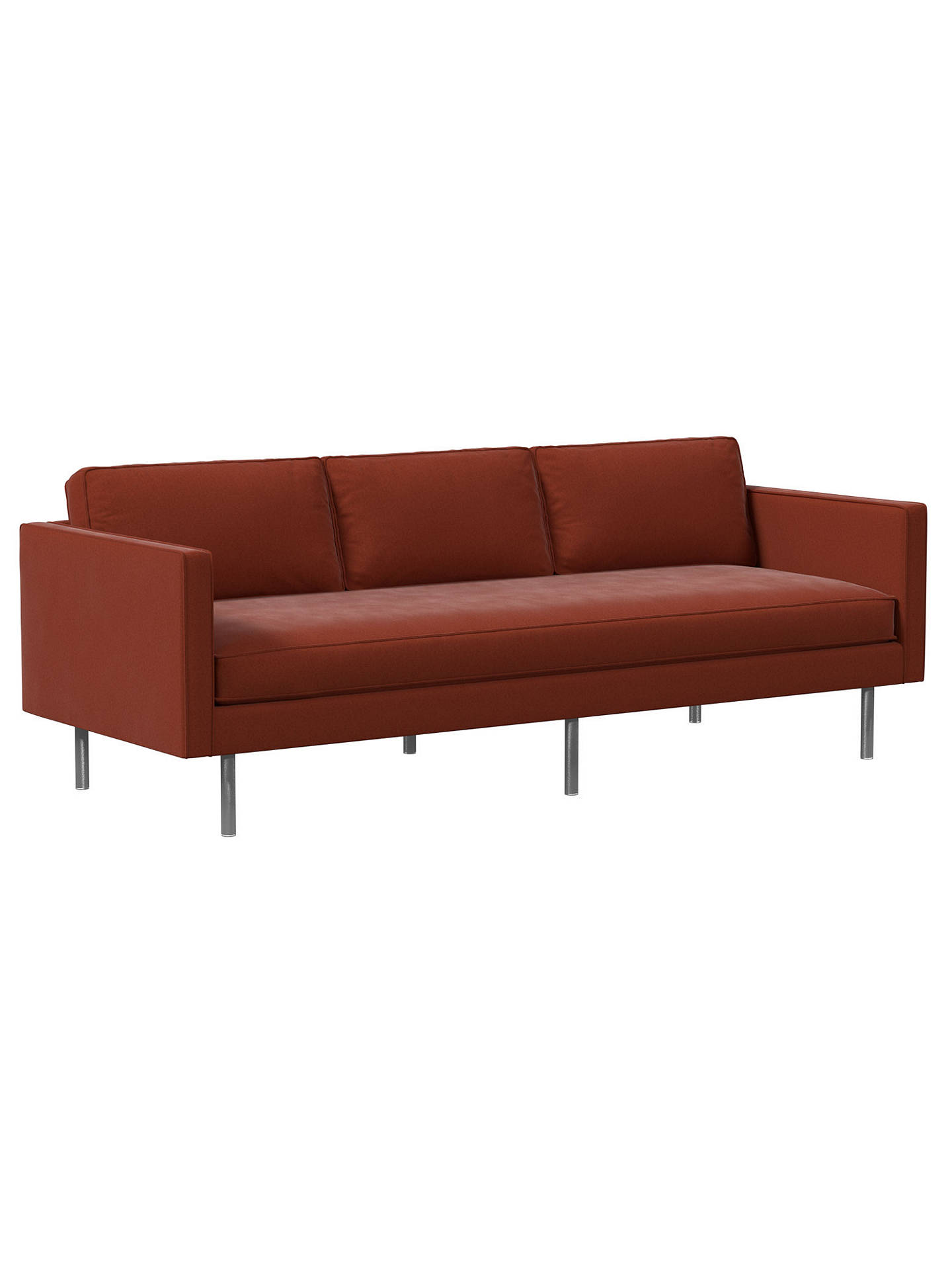 Buy west elm Axel Large 3 Seater Sofa, Velvet Rust Online at johnlewis.com