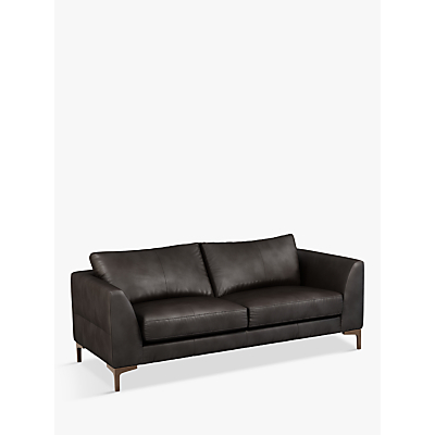 John Lewis & Partners Belgrave Large 3 Seater Leather Sofa, Dark Leg