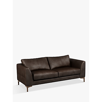 John Lewis & Partners Belgrave Large 3 Seater Leather Sofa, Dark Leg