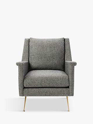 west elm Carlo Chair, Velvet, Granite
