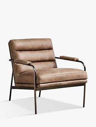 west elm Slipper Chair, Leather, Chocolate