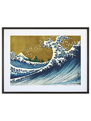 Katsushika hokusai the big wave grey painted ash framed print