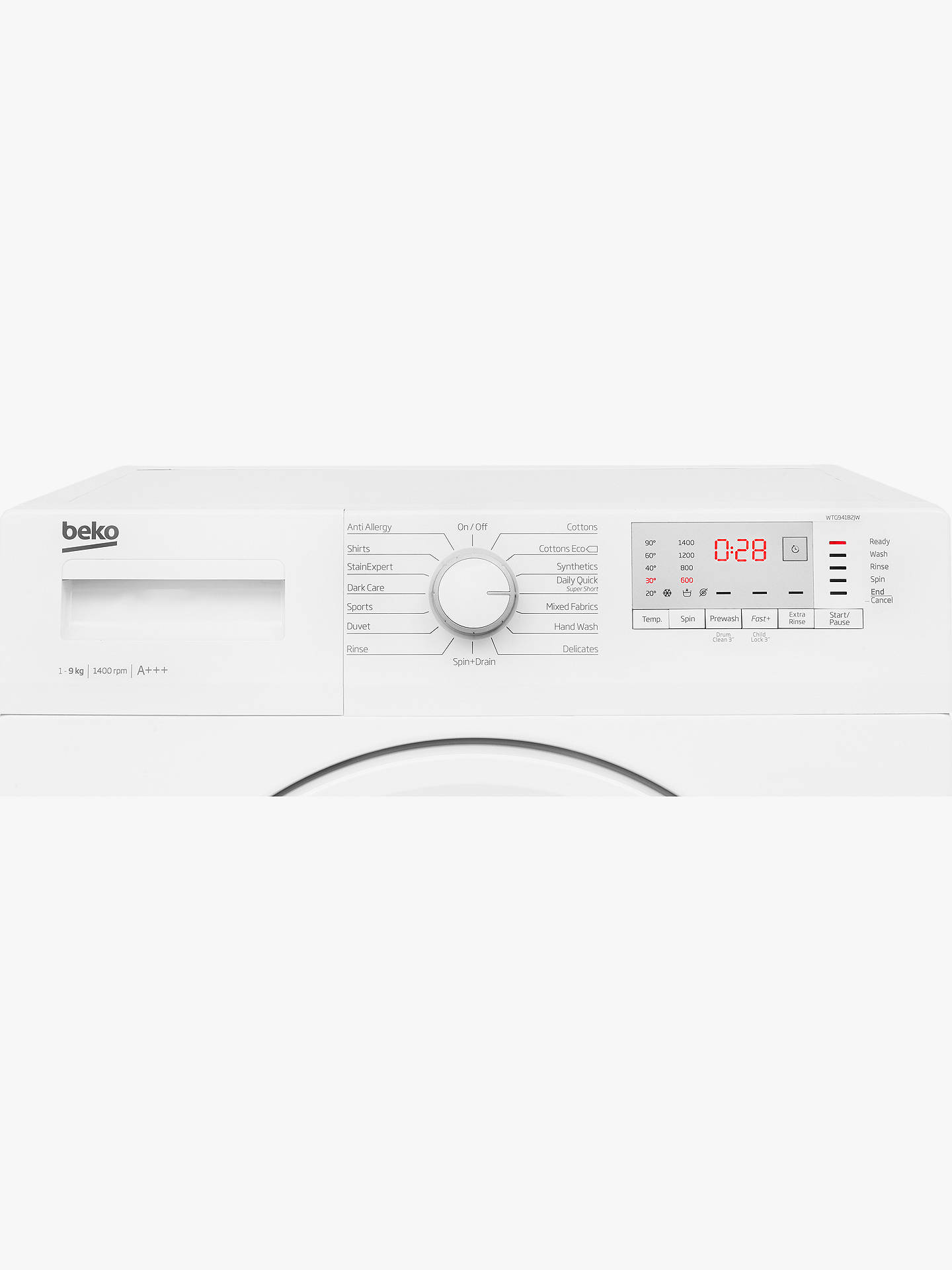 BuyBeko WTG941B2JW Freestanding Washing Machine, 9kg Load, A+++ Energy Rating, 1400rpm Spin, White Online at johnlewis.com