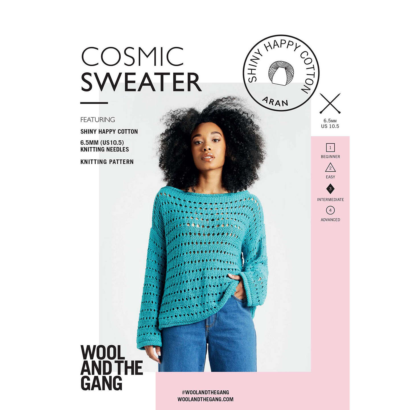Wool and the Gang Women\'s Cosmic Sweater Knitting Pattern at John Lewis