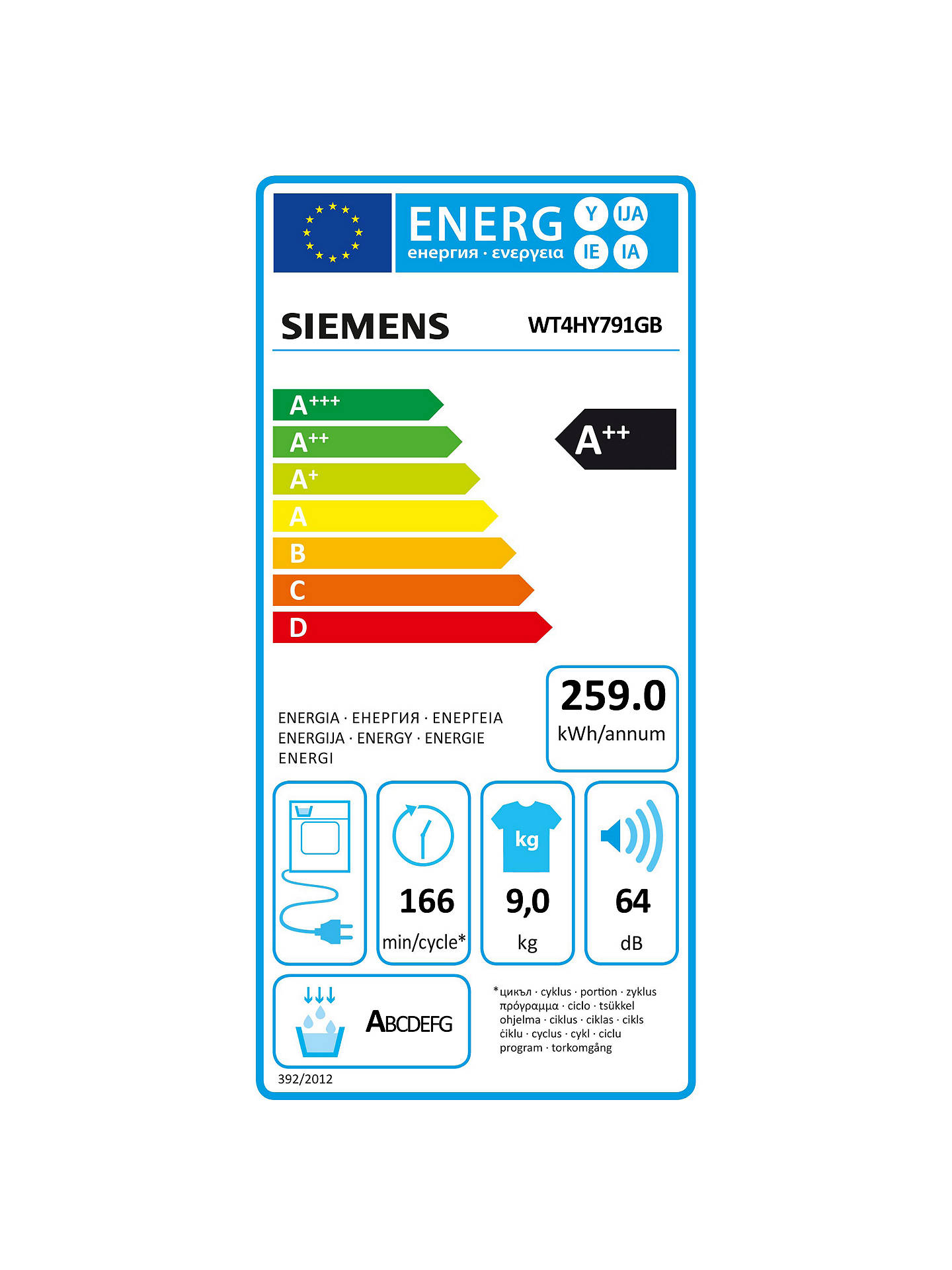 BuySiemens WT4HY791GB Heat Pump Tumble Dryer, 9kg Load, A++ Energy Rating, White Online at johnlewis.com