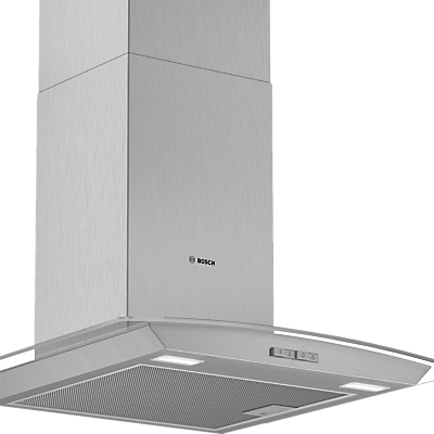 Image of Bosch DWA64BC50B Chimney Cooker Hood, Brushed Steel / Glass