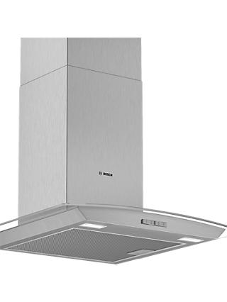 Bosch DWA64BC50B 60cm Chimney Cooker Hood, D Energy Rating, Brushed Steel / Glass