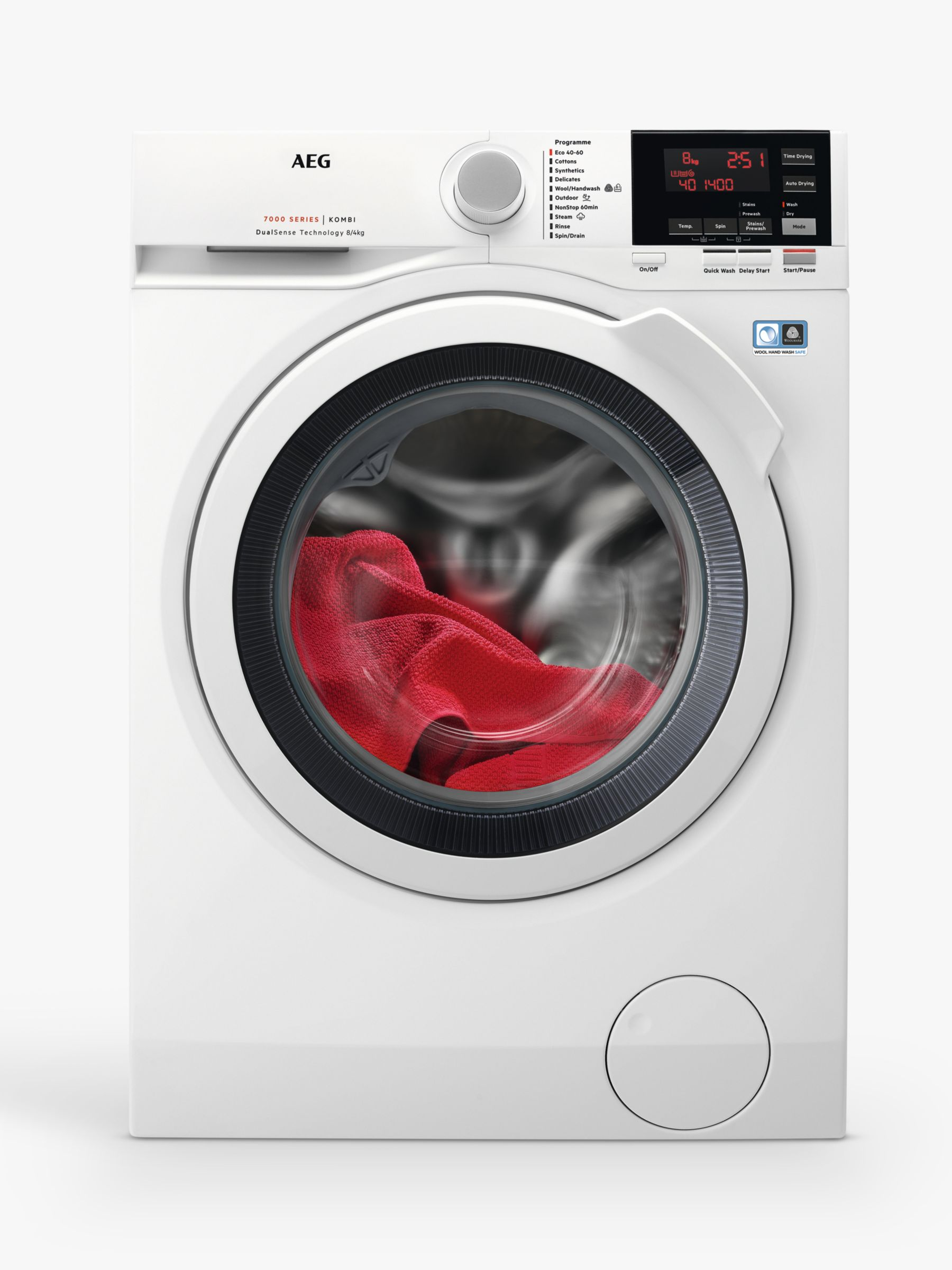 AEG AEG L7WEG841R Freestanding Washer-Dryer, 8kg Wash/4kg Dry Load, A Energy Rating, White