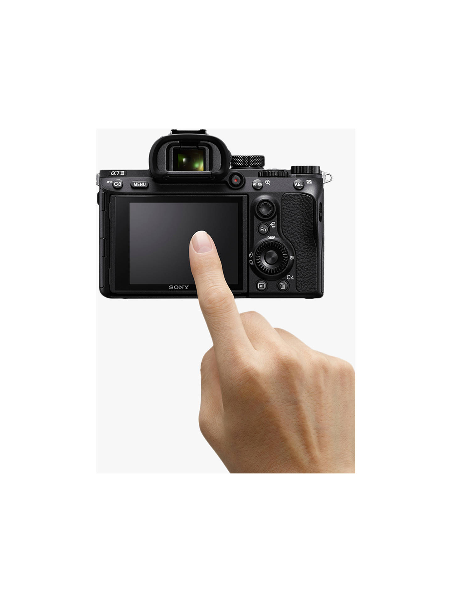 "BuySony a7 III (Alpha ILCE-7M3) Compact System Camera, 4K Ultra HD, 24.2MP, Wi-Fi, Bluetooth, NFC, OLED EVF, 5-Axis Image Stabiliser & Tiltable 3"" LCD Screen, Body Only, Black Online at johnlewis.com"