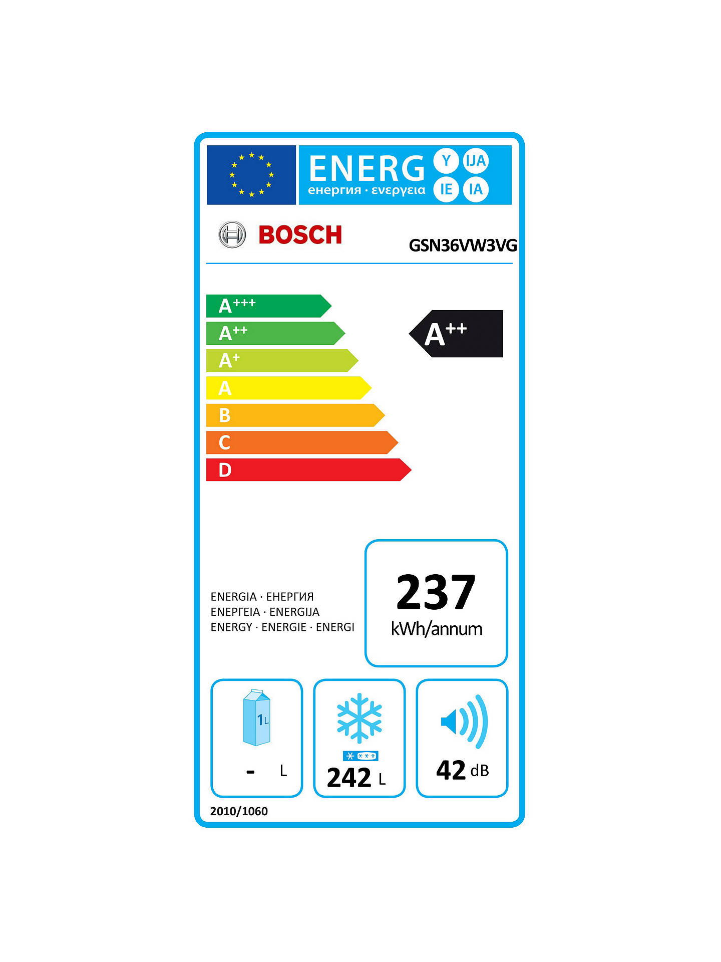 BuyBosch GSN36VW3VG Tall Freezer, A++ Energy Rating, 60cm Wide, White Online at johnlewis.com